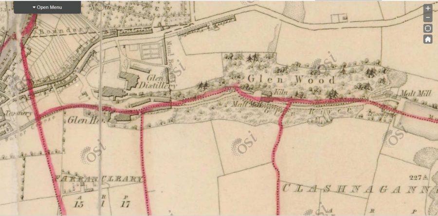 Map of Glen Distillery, 1836 (source: OSI.ie)