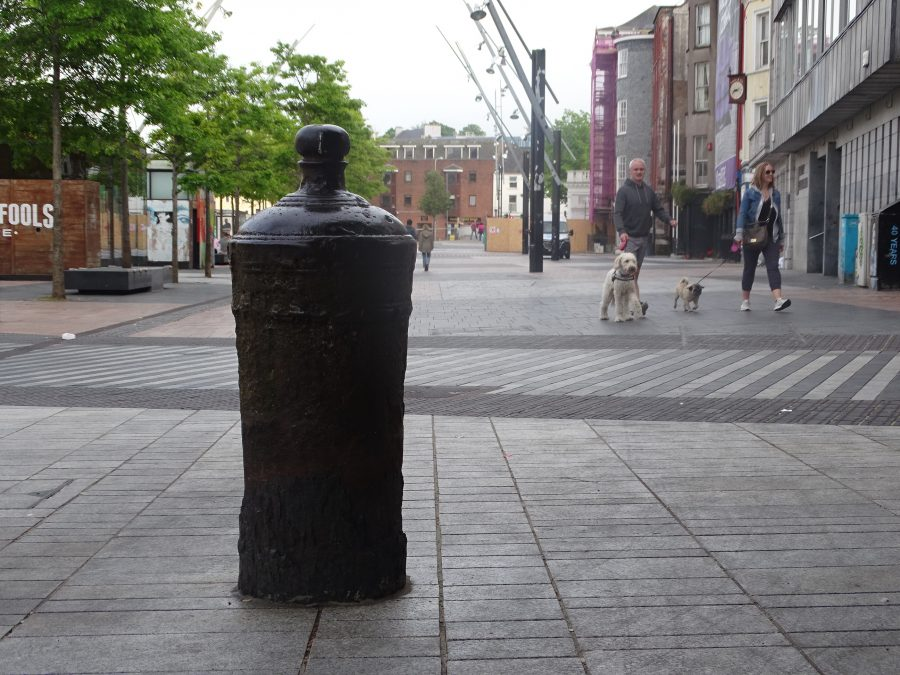 On the corner of Grand Parade and Tuckey Street, embedded into the pavement, is a canon that was reputedly used in the Siege of Cork 1690; it is thought that it was later used as a mooring post for a quayside in the 1700s (picture: Kieran McCarthy).
