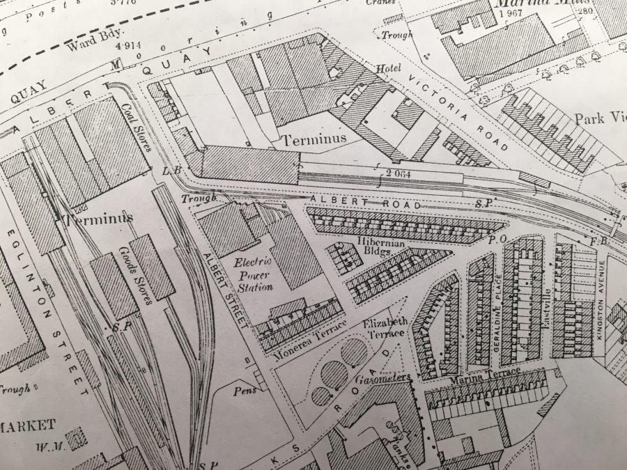 Map of Hibernian Buildings, 1910 (source: Cork City Library)