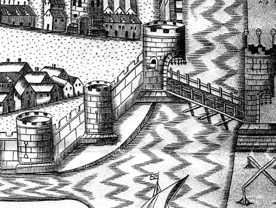 Former town wall with mural tower, as depicted in Map of Cork, late sixteenth century as depicted in George Carew's Pacata Hibernia, c.1600 (source: Cork City Library)