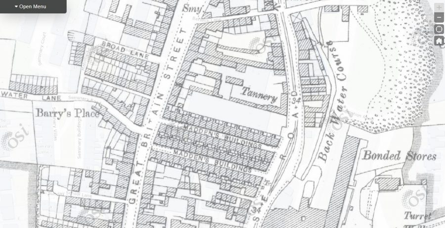 Map of Madden's Buildings, Blackpool, 1910 (source: OSI.ie)