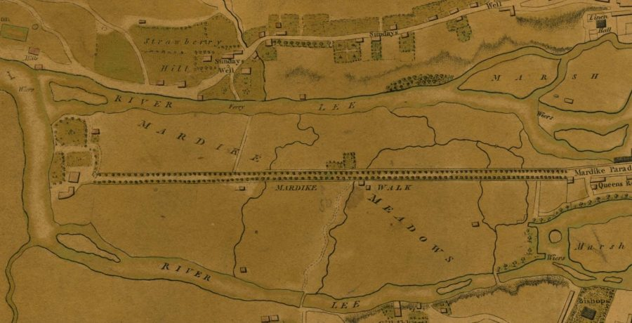 Map of Mardyke walk and its swampland, 1801 (source: Cork City Library)