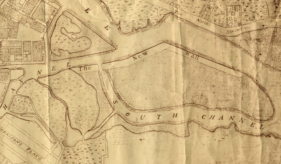 The New Wall, from O'Connor's Map of Cork, 1774 (source: Cork City Library)