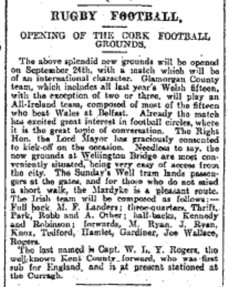 Mardyke Rugby Grounds Opening Announcement, 4 September 1904 (source: Irish Examiner Archive)