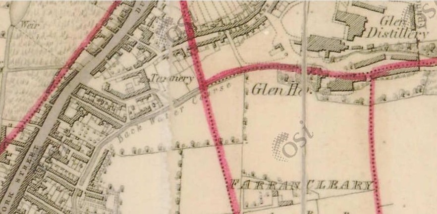 Map of Spring Lane Tannery, Blackpool, 1836, left of centre (source: OSI.ie)