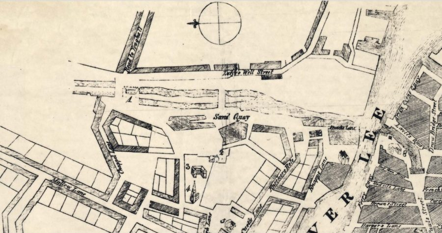 Map of part of Poulraddy Harbour, Blackpool, 1750 (source: Cork City Library)