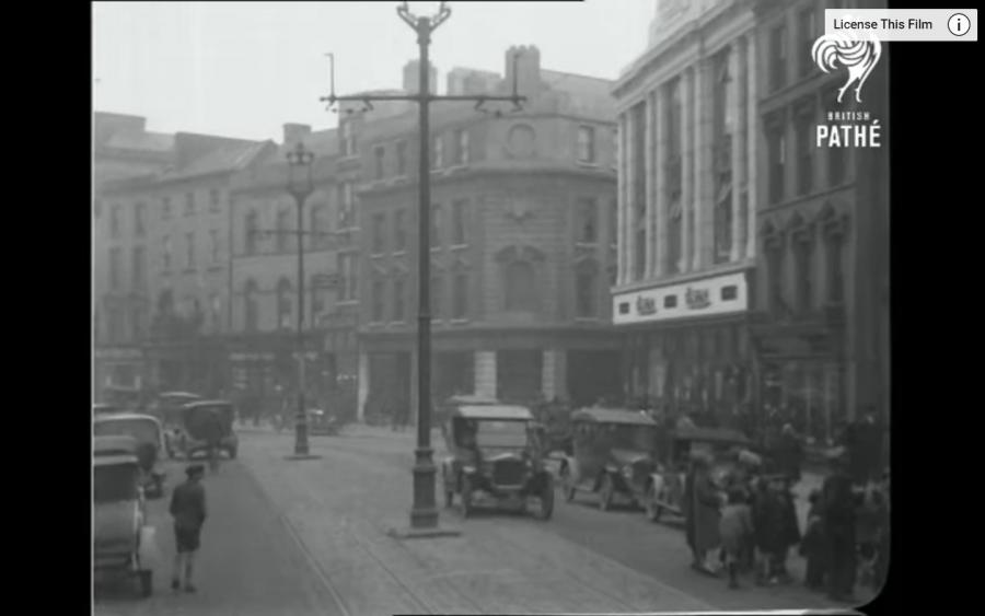 Image from British Pathe movie still of Cork's St Patrick's Street, 1927