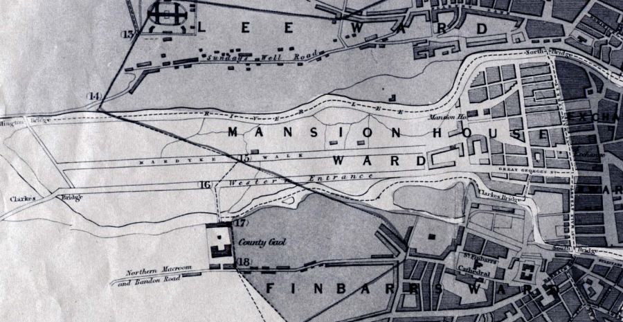 Map of Western Entrance road from Chalmer's Map of Cork 1832 (source: Cork City Library)