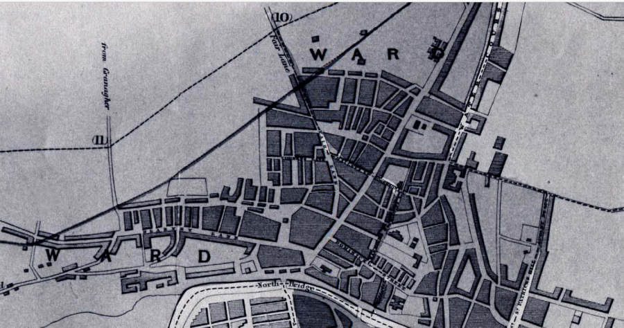 Map of slum areas in Cork's northside, 1832 (source: Cork City Library)