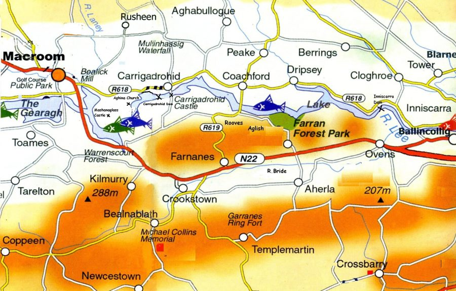 Map of River Lee Valley from Macroom to Ballincollig, Co. Cork (source: Cork Tourist Office)