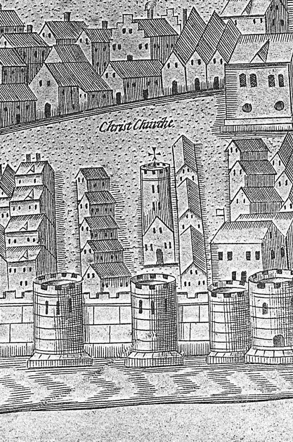 Christ Church, Cork, late sixteenth century as depicted in George Carew's Pacata Hibernia, c.1600 (source: Cork City Library)