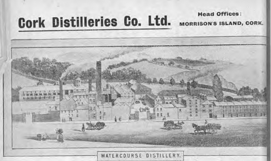 Watercourse Distillery as depicted in Henry and Coughlan's Directory of Cork, 1867 (source: Cork City Library)