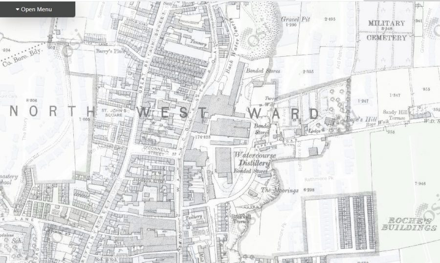 Map of Watercourse Distillery, 1910 (source: OSI.ie)