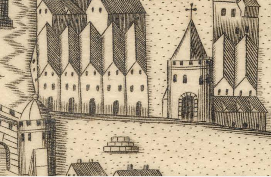 Town Cross base  on North Main Street in Map of Cork, late sixteenth century as depicted in  George Carew's Pacata Hibernia, c.1600 (source: Cork City Library)