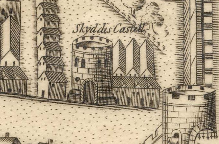 Skiddy's Castle on North Main Street in Map of Cork, late sixteenth century as depicted in George Carew's Pacata Hibernia, c.1600 (source: Cork City Library)