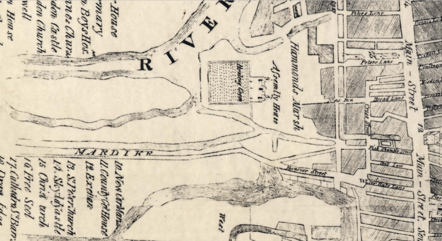 Map of eastern part of the Mardyke walk, Cork, 1750 (source: Cork City Library)