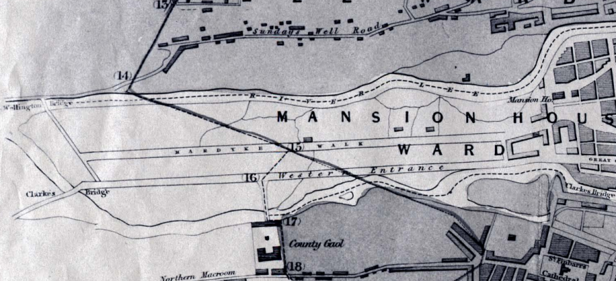 Map of Mardyke Walk and the new Western Road, 1832 (source: Cork City Library)