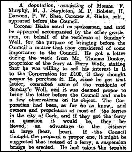 Deputation to Cork Corporation, Extract from Cork Examiner, 28 August 1908 (source: Cork City Library)