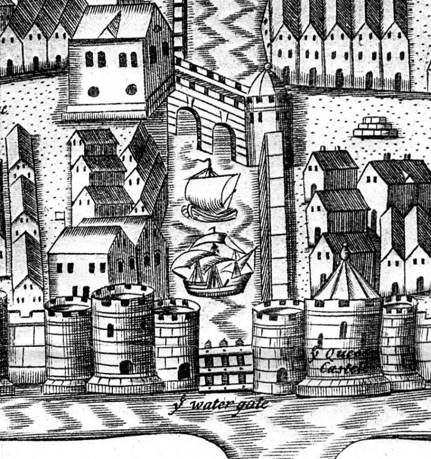 Sketch of Watergate and Roches Tower, centre right, from George Carew's Map of Cork c.1600 (source: Cork City Library)