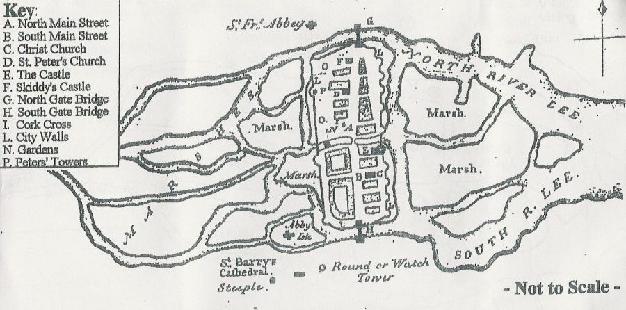 Walled Town of Cork, 1545 (source: Cork City Library)