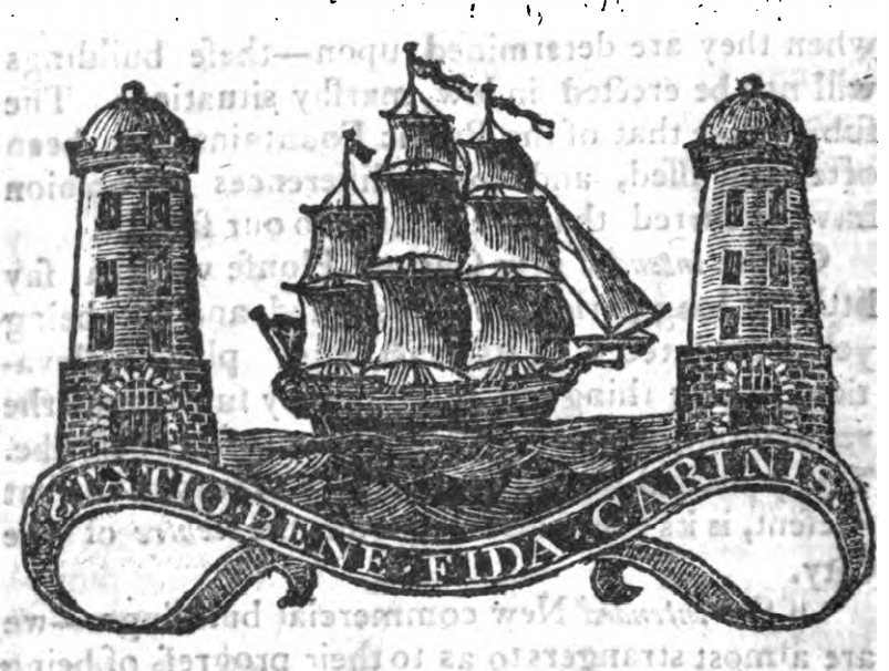 Cork Coat of Arms 1810 as depicted in William West's A Directory and Picture of Cork and its Environs (source: Cork City Library)