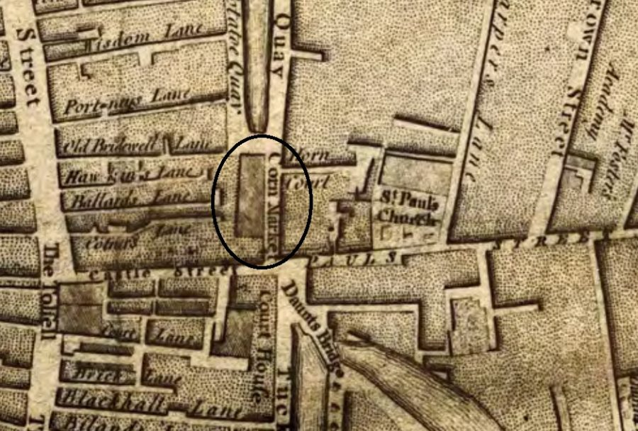 Cornmarket building, as shown on Rocque's Map of Cork, 1759 (source: Cork City Library)