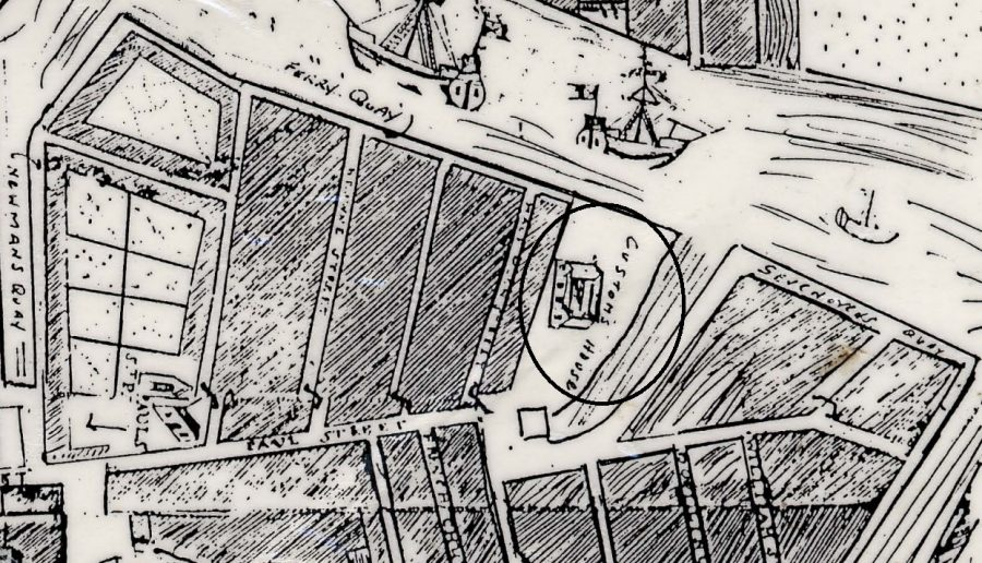 Custom House as marked out on Carty's Map of Cork, 1726 (source: Cork City Library)