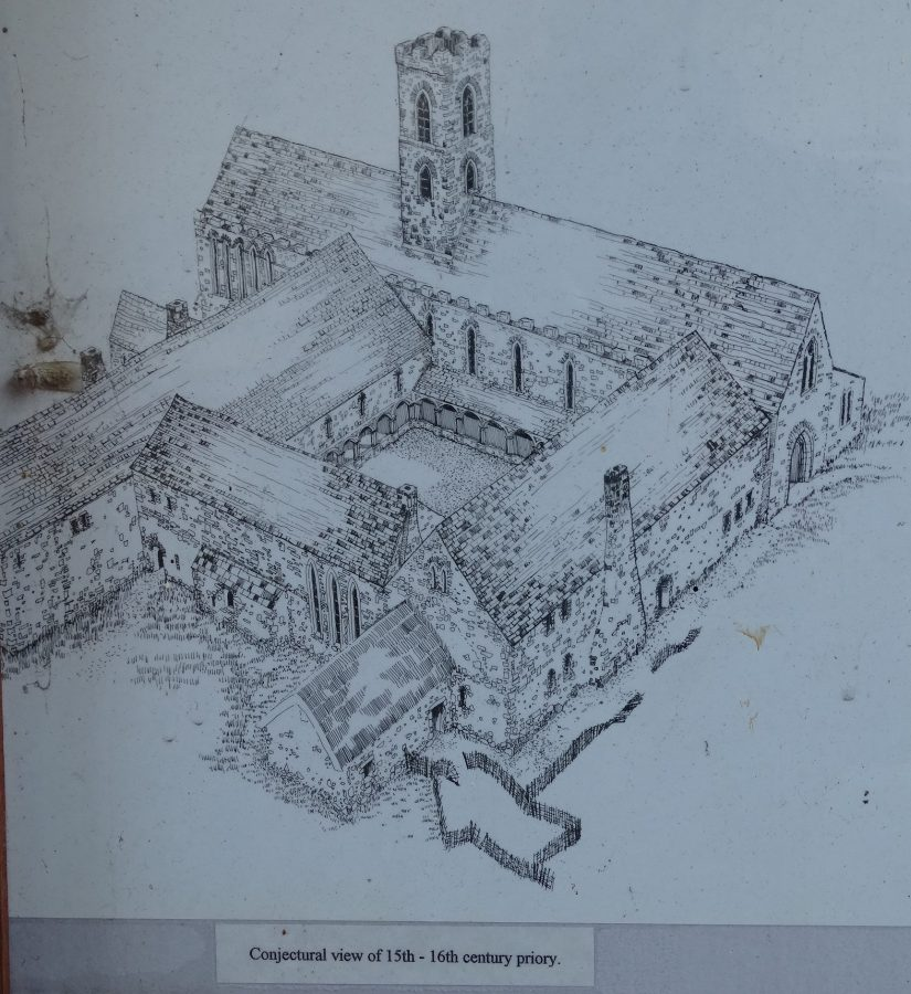 Depiction of reconstruction of St Marie's of the Isle, Dominican Abbey from Archaeological History of Crosses Green interpretative panels at Crosses Green, Cork, present day
