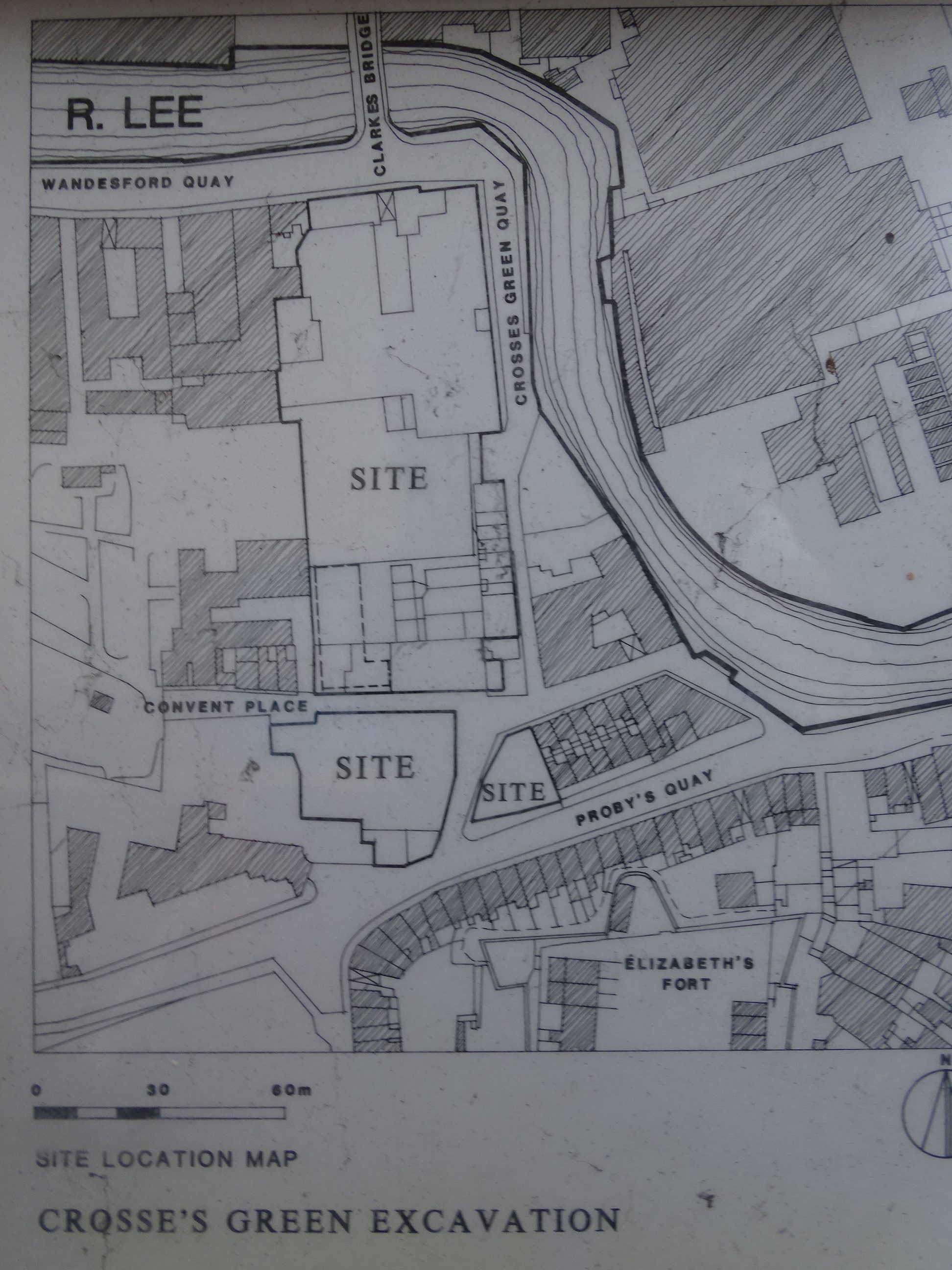 Map of site developed, from Archaeological History of Crosses Green interpretative panels, at Crosses Green, Cork, present day