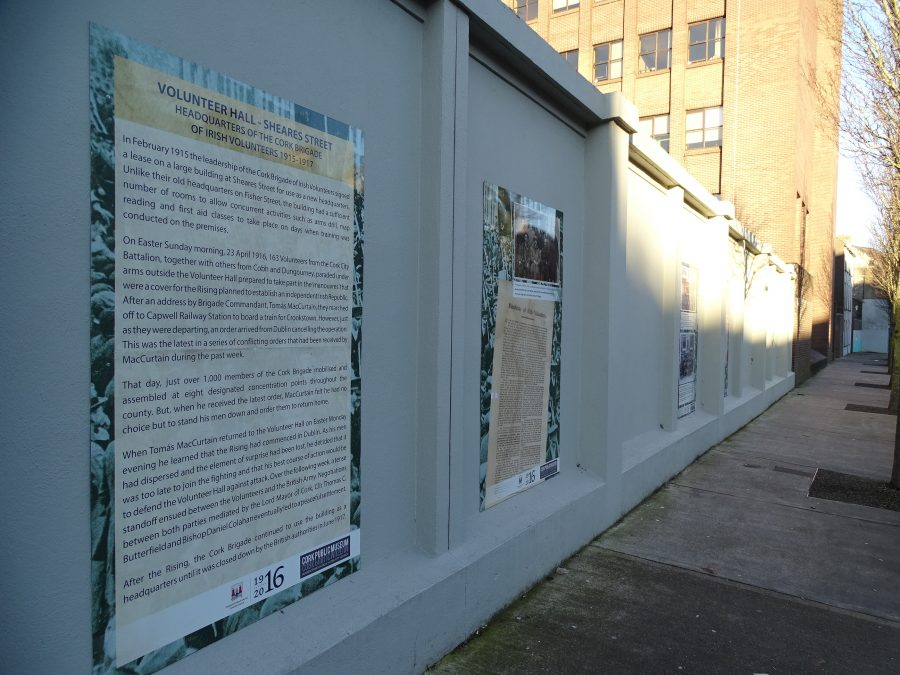 Information panels on Cork Volunteers in 1916, Sheares Street, present day (picture: Kieran McCarthy)