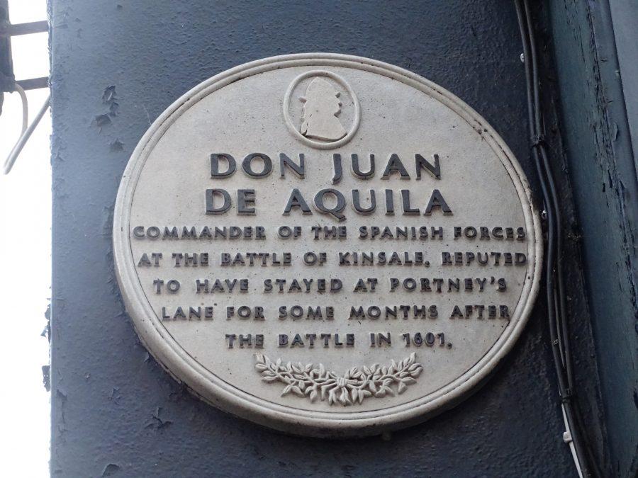 Plaque commemorating Don Juan De Aquila's visit to Portney's Lane, Cork, 1601 (picture: Kieran McCarthy)
