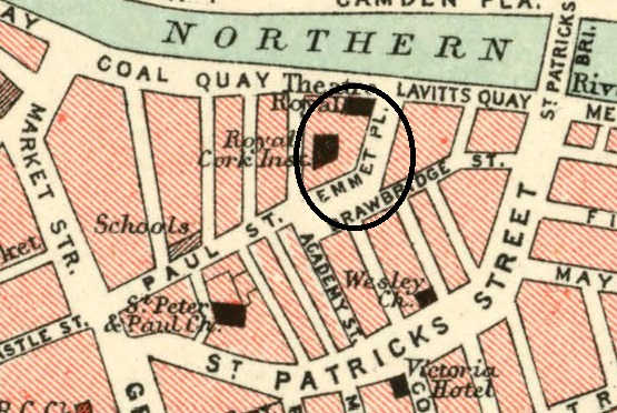 Emmet Place from Bartholomew's Map of Cork, 1903 (source: Cork City Library)