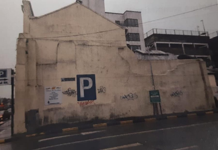 Former wall for Kingfisher Mural, Lavitt's Quay, Cork, May 2019 (picture; Cork City Council)