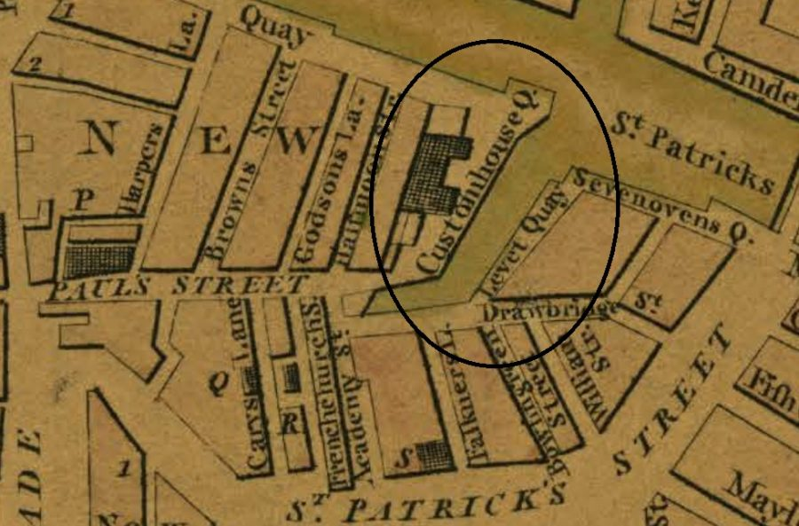 Lavitt's Quay from Beauford's Map of Cork 1801 (source: Cork CIty Library)