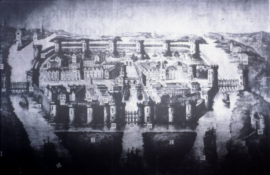 Late 20th century reconstruction of Map of Cork, late sixteenth century as depicted George Carew's Pacata Hibernia (source: Cork City Library)