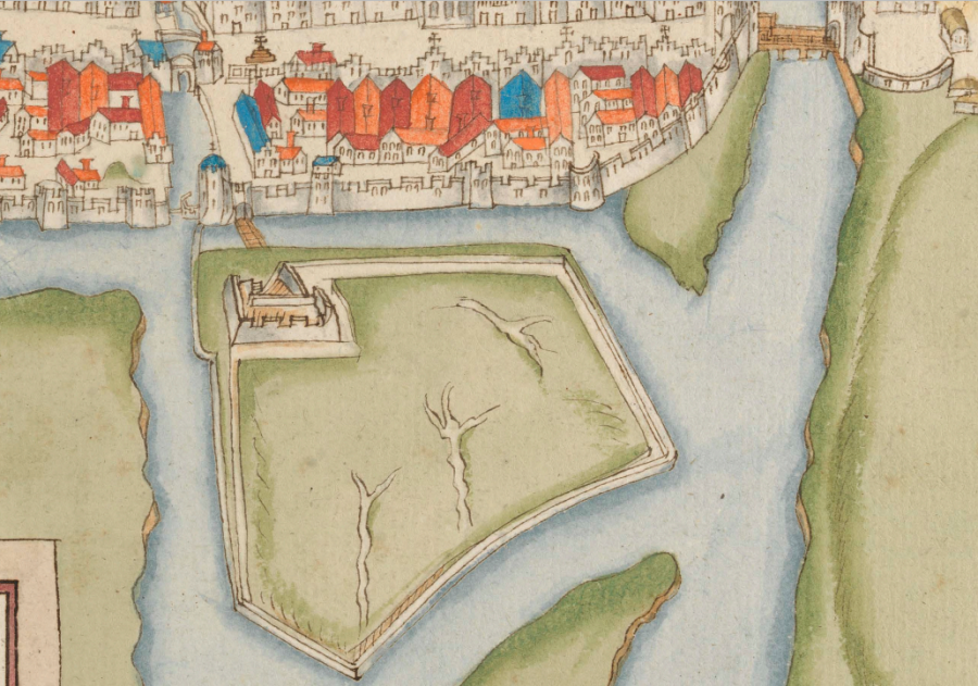 Section from George Carew's 1602 Plan of Cork showing  the exterior fortification and Walkabout (source: Trinity College Dublin)