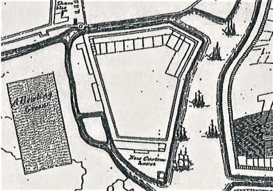 Section of Storey's Map of Cork, 1690 showing the exterior Walkabout (source: Cork City Library)