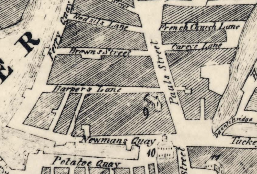 St Paul's Church is no.9 on this section of John Carty's Map of Cork from 1726 (source: Cork City Library)