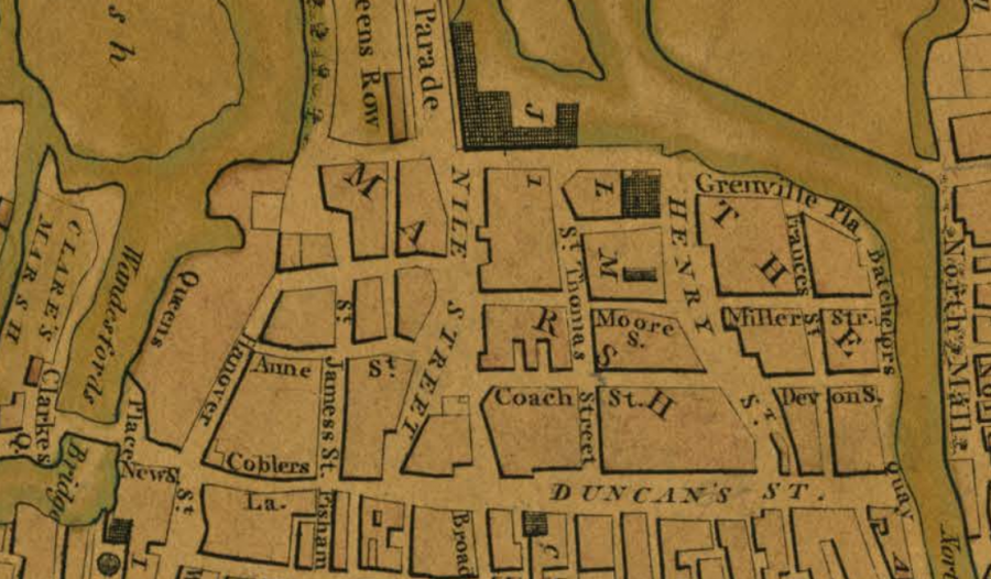 Duncan Street within a section Beauford's Map of Cork, 1801 (source: Kieran McCarthy)