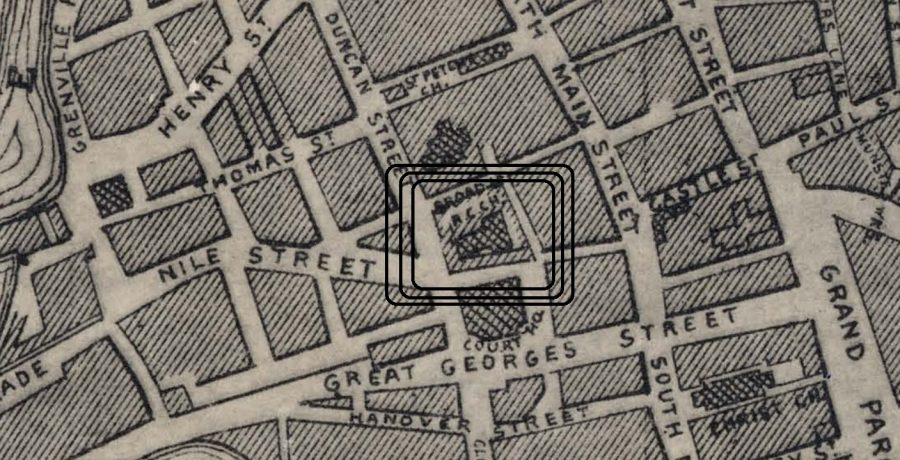 Site of St Francis Church from Wilkie's Map of Cork, 1872 (source: Cork City Library)