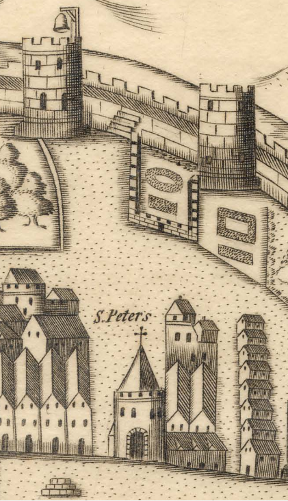 St Peter's Church, 1600 and graveyard space to town wall (top centre) (source: Cork City Library)
