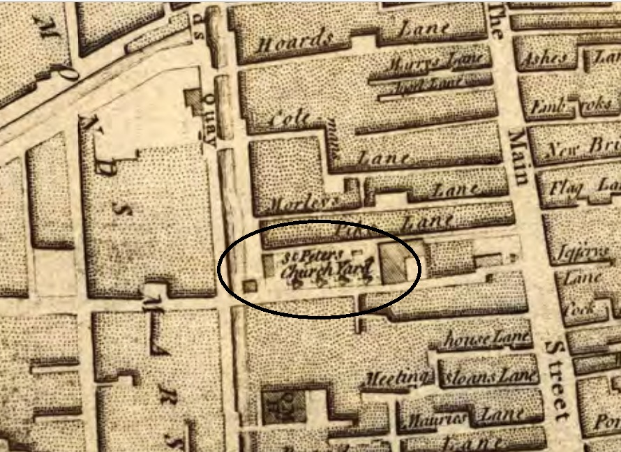 St Peter's Graveyard, 1759 from John Rocque's Map of Cork (source: Cork City Library)