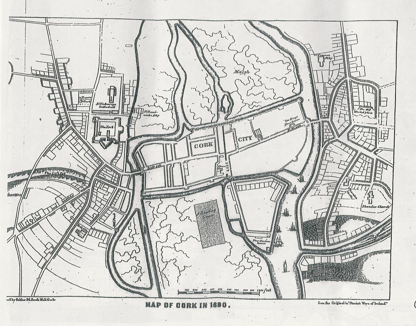 Storey's Map of Cork, 1690 (source: Cork City Library)