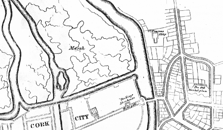 Storey's Map of Cork in 1690  (source: cork City Library)