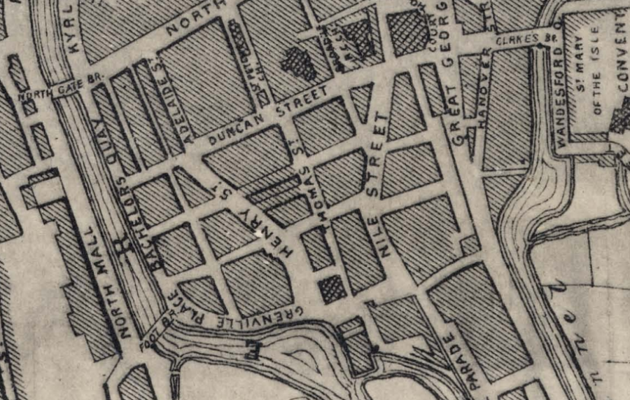 Nile Street and surrounds, 1876 (source: Cork City Library)