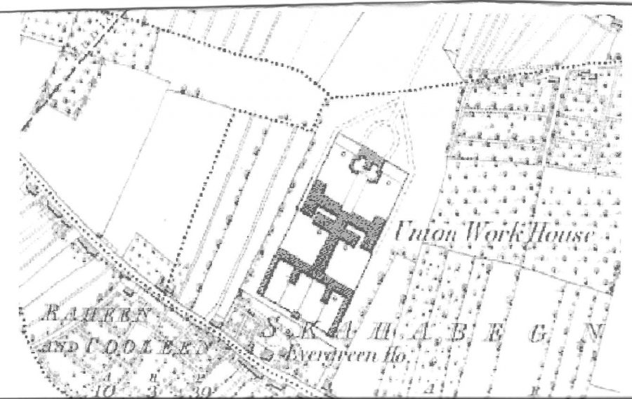 Section of OS Map of Cork Union Workhouse, c.1836 (source: Cork City Library)