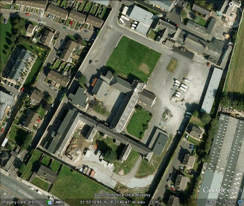 Aerial view of remains of Cork Union Workhouse, now within St Finbarr's Hospital, present day (picture: Google Earth)