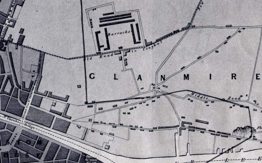 Map of Cork Barracks, 1832 (source: Cork City Library)