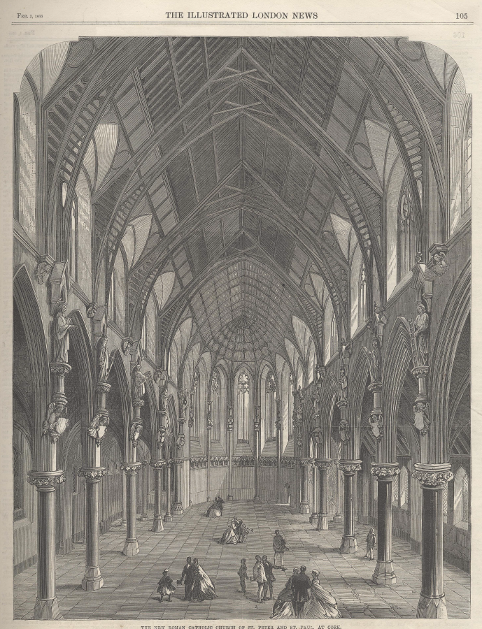Interior of SS Peter and Paul's Church, Cork, from Illustrated London News, 1866 (source: Cork City Library)