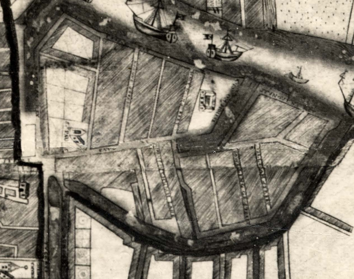 The North East Marsh, Section of Carty's Map of Cork, 1726, shaded areas are water; excavated areas were the white shaded property plots to left of centre (source: Cork City Library)